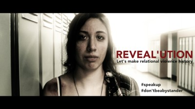 Cover image of a video on dating violence, with a woman close up.