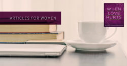 Articles for women, coffee cup beside a stack of books and a computer.