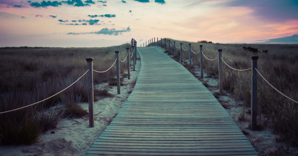 The sun sets in the distance as a wooden path leads through a sandy bluff towards it.